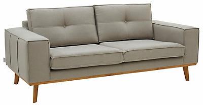 GMK Home & Living 2-Sitzer »Janis«, Leinen oder NaturLEDER mit Eichen-Füssen und Aussennaht