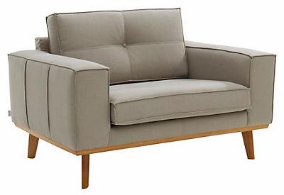 GMK Home & Living Sessel »Janis«, Leinen oder NaturLEDER mit Eichen-Füssen und Aussennaht