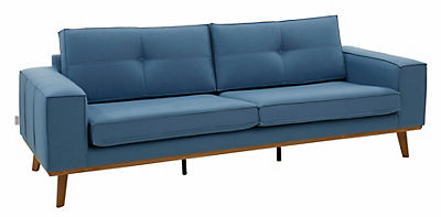 GMK Home & Living 3-Sitzer »Janis«, Leinen oder NaturLEDER mit Eichen-Füssen und Aussennaht