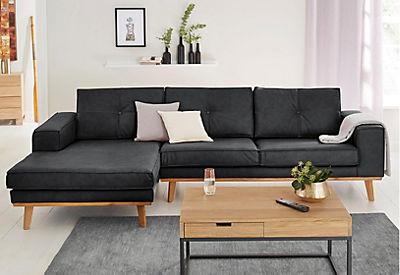 GMK Home & Living Polsterecke »Janis«, Leinen oder NaturLEDER mit Eichen-Füssen und Aussennaht